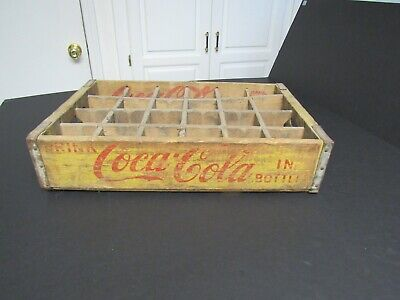 NICE Vintage Retro Yellow Coca Cola Coke Wood Crate Case 24 bottle crate.