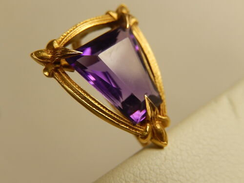 VICTORIAN 14k AMETHYST STICK PIN Antique Tiger Lily Prongs Detailed MINT