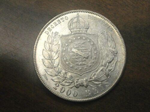 1889 Brazil 2000 Reis Silver Coin Km #485 *Looks AU+*