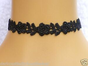 Handmade-Black-Guipure-Lace-Flower-Rose-Choker-Necklace-Gothic-UK-Seller