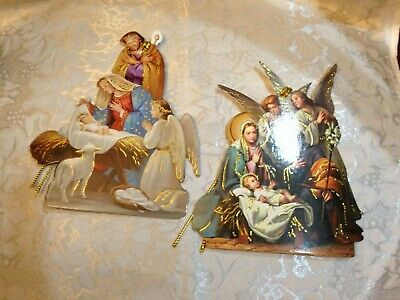 CHRISTMAS NATIVITY PAPER ORNAMENTS-2 PC Bible verse on back, New Heavy Quality! ()