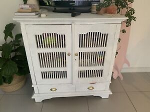 White Bali up cycled tv unit/cabinet
