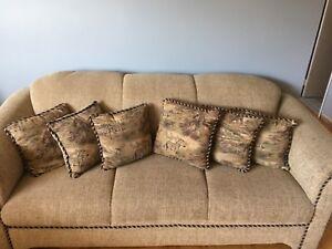 Brown fabric sofas/recliner set