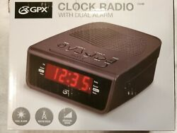 GPX Audio C224B Dual Alarm Clock AM/FM Radio Digital Volume Control Black