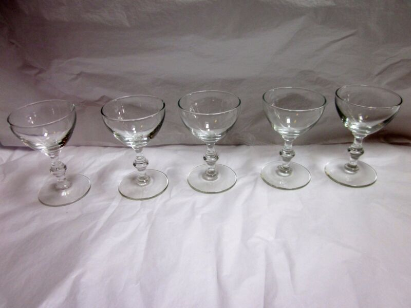 Set of 5 Vintage Clear Glass 2 ounce Wine/Dessert Glasses