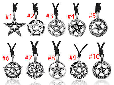 Gothic Pentagram Star Skull 92.5 Sterling Silver Pewter Necklace Pendant Jewelry Pentagram Silver Pewter Pendant