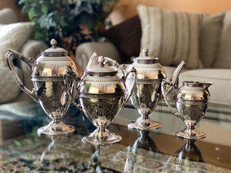Vintage Gorham Silver Soldered 4 Piece Tea Serving Set-Beautiful Condition