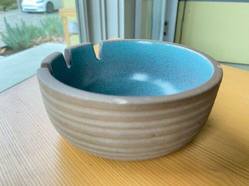 """Heath Ceramics Vintage 5"""" 3-Slot Ashtray (Ribbed Clay / Speckled Teal Glaze!)"""