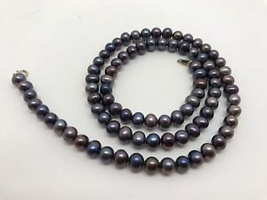 STUNNING-18-034-Black-Pearl-Necklace-Jewelry-5mm-Pearls-RF623