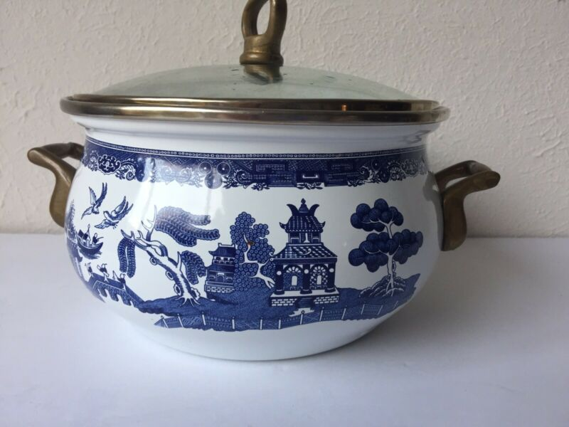 Johnson Brothers BLUE WILLOW Enamel Dutch Pot & Glass Lid, Vintage, 1980s, RARE