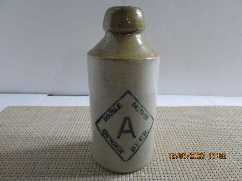 Vintage A Double Brewed Ginger Beer Stoneware Bottle