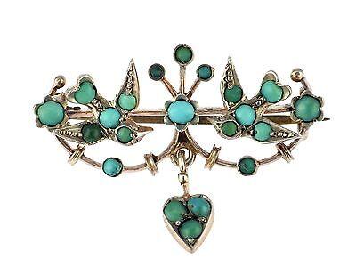 Jugendstil Persische Türkis Gold auf 800 Silber florale Brosche !