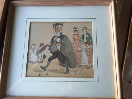 Beautiful Framed Antique Victorian Print - Latin Schoolmaster