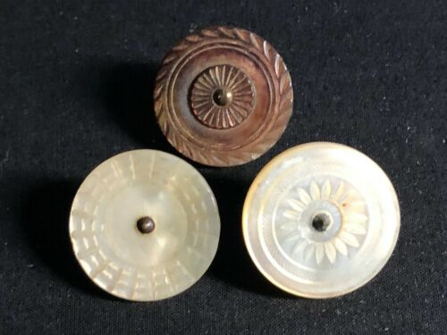"""Lot of 3 Antique Colonial 18th Century Incised Pearl Buttons- 1"""""""