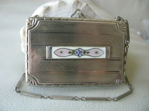 Antique Silver Lavender Purple White Guilloche Coin Holder Bar Chain Compact
