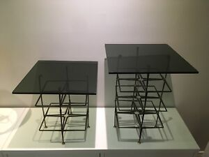 Pair End Table Mid Century Nail Brutalist /w glass top