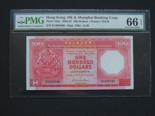 HONG KONG 1985-87 100 DOLLARS -PMG UNC 66 EPQ