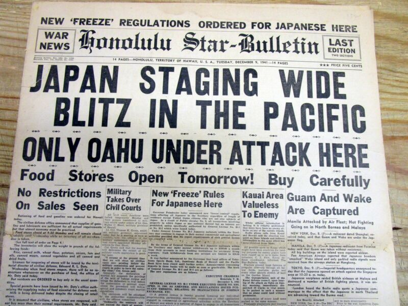 12-9-1941 Honolulu HAWAII newspaper JAPAN ATTACKS PEARL HARBOR Japanese Interned