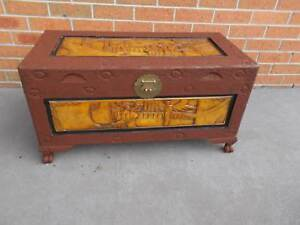 Vintage Oriental Camphor Chest Trunk Coffee Table Storage Box