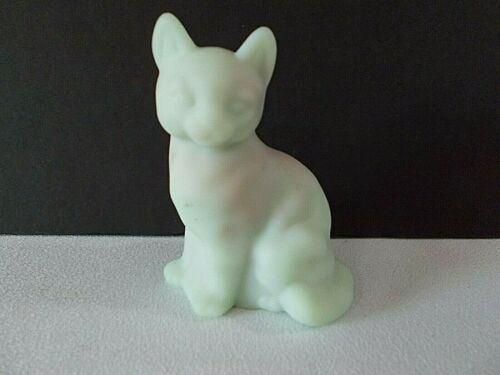 Fenton Lotus Mist Satin Burmese Sitting Cat figurine~~3-½ inches high