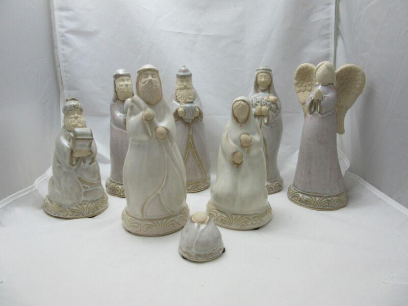 Nativity Set Pottery 8 pcs Roman Inc 2004 Folk Art - Unused