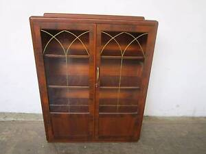 C44041 Lovely Vintage ART DECO Oak China Display Cabinet Mount Barker Mount Barker Area Preview