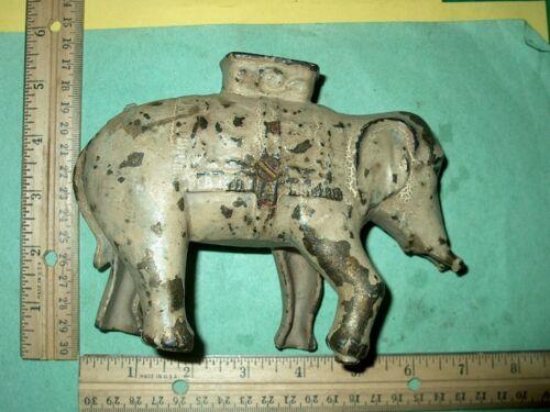 ANTIQUE ELEPHANT CAST IRON BANK-HEAVY 2 POUNDS