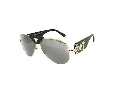 Versace VE2150Q 2150Q 1252/6G Pale Gold Gray Mirror Black Sunglasses