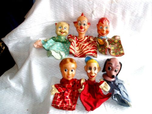Vintage / Antique LOT OF 6 RUBBER HEAD, HAND HELD PUPPETS Various ones