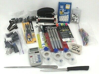 Lot Of Officeschool Supplies Pens Markers Erasers Calculator Clips Staples