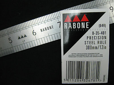 RABONE 12'' / 300mm  64R Stainless Steel Metric & Imperial Precision Rule