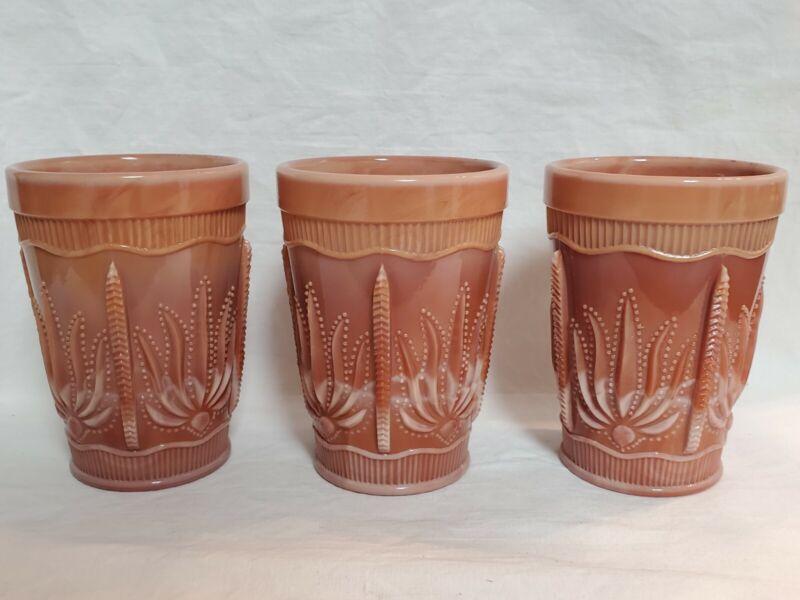 Vintage Chocolate Slag Glass Cactus Tumblers