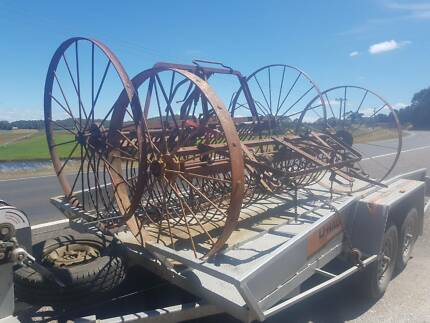 Old horse hay rake implements