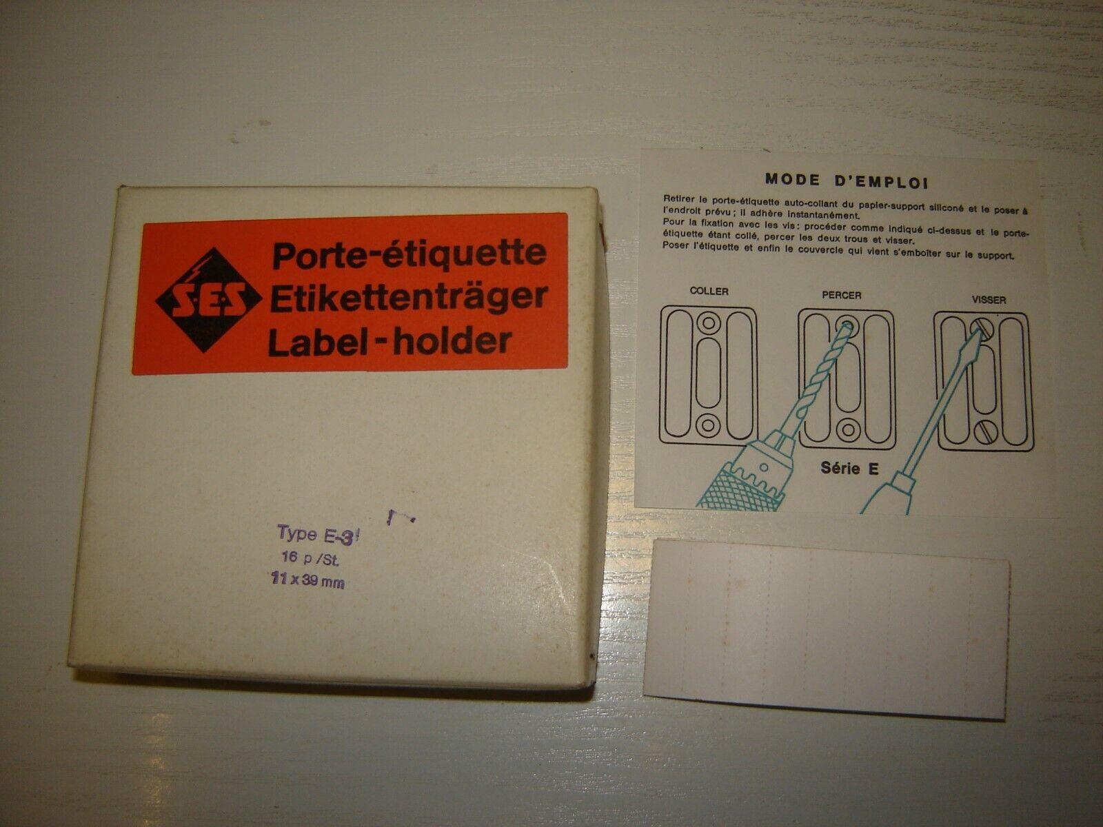 14 Etikettenträger SES  Kunststoff Typ E-3  11x39mm Neu