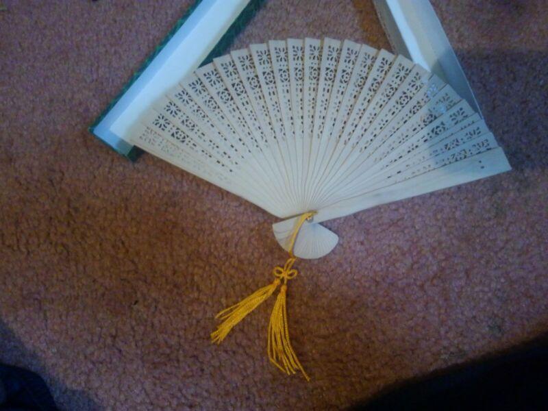 Vintage Oriental Asian Style Folded Wooden hand Fan