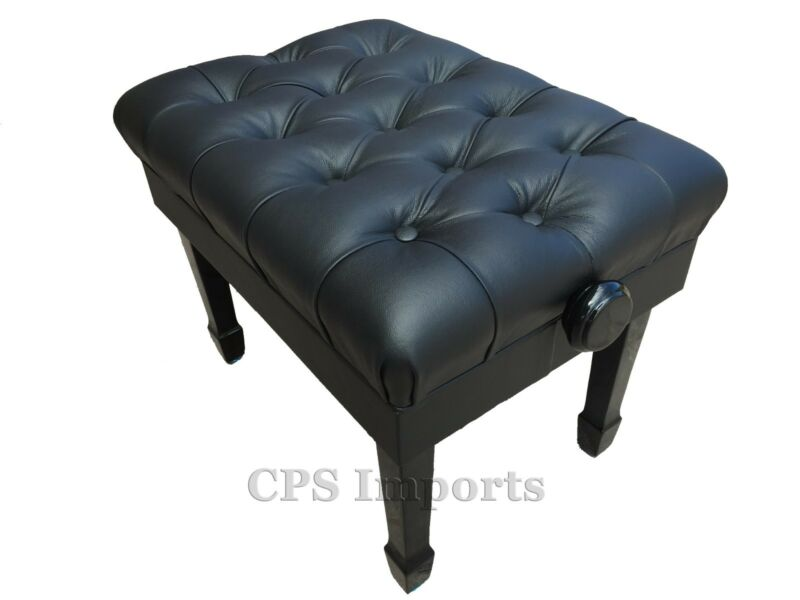 GENUINE LEATHER Ebony Satin Adjustable Artist Concert Piano Bench/Stool/Chair