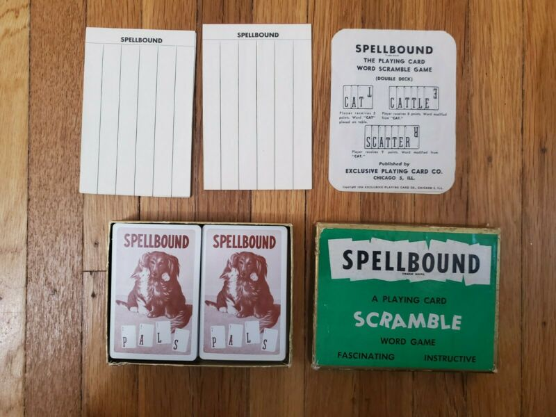 SPELLBOUND A Playing SCRAMBLE Word Game 1954  VINTAGE CARD GAME
