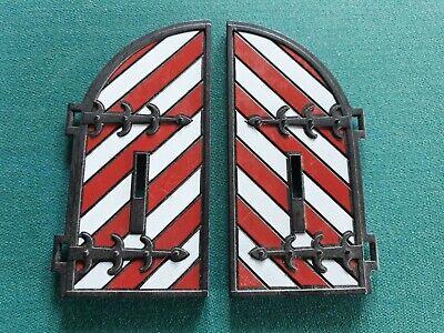 PLaymobil Holz Tor rot weiss Torflügel Tür Set 3446 3450 3666 3667  Ritterburg