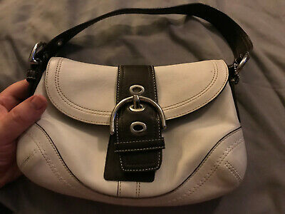 Coach Vintage White & Brown Leather handbag /purse w/ Hobo buckle  k0779-F10909
