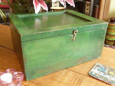 Clean Painted Wood Furniture - Distressed Patina Vintage Green Painted Wood Box Clean Storage Retro Industrial