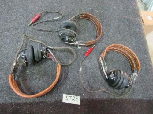 WWII Pilots HS-33 Head Set original nice+  W/ear pads Army Air Corps (ST29)