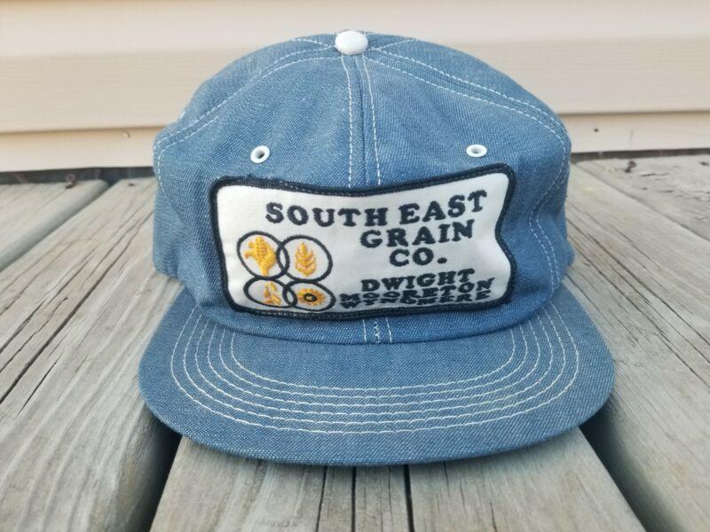 Vintage SOUTHEAST GRAIN COMPANY Snapback K-Products Denim Trucker Hat