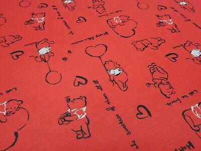 Stoff Baumwolle Jersey Winnie Pooh Herzen Disney rot Kinderstoff Kleiderstoff