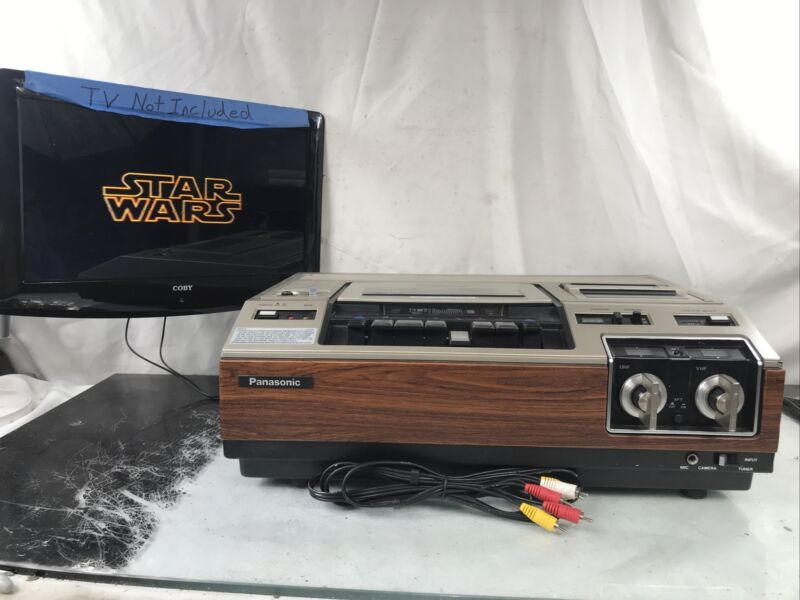 Vintage Panasonic OmniVision VI Top Loading VHS VCR PV-1200 With AV Cable