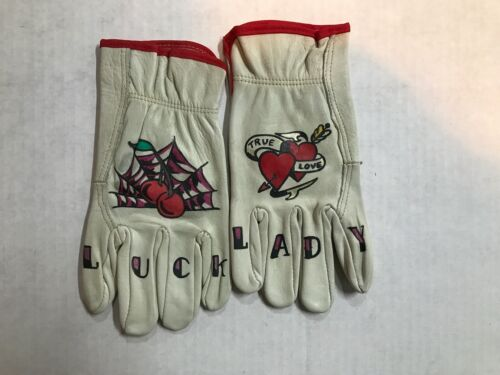 NEW LADY/LUCK STENCILED RIDING GLOVES SIZE S