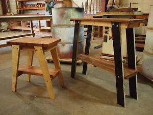 Rustic Reclaimed Industrial Timber Side / Hall Table x 2 Salisbury Brisbane South West Preview