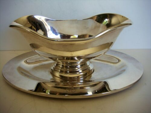 Ercuis Silverplate Gravy Boat, Underplate Nautical Interest French Maritime Navy