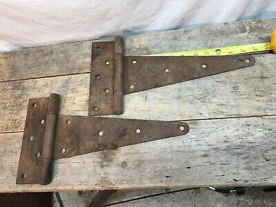 """Vintage  Iron Barn Door Strap Hinges 15"""" Long x 8 in Pair"""