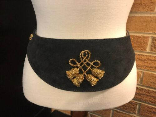 Anne Klein II Black Suede Belt Wide Adjustable 1452 Embellished