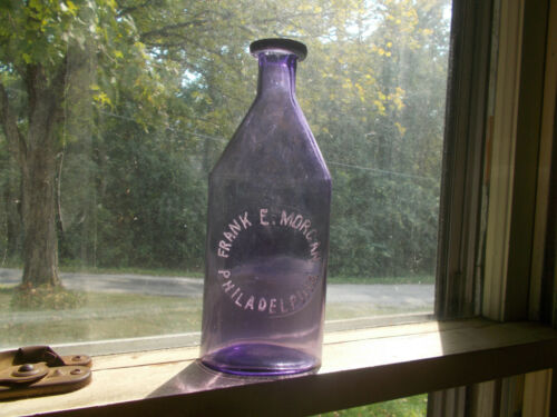 "1880s VARIANT AMETHYST BIG 8 1/4"" FRANK MORGAN PHILADELPHIA MEDICINE BOTTLE"